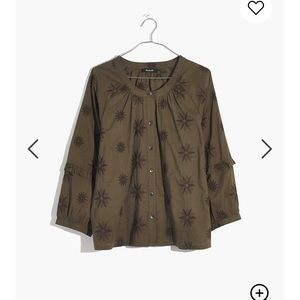 NWOT Madewell Embroidered Bubble Sleeve Top